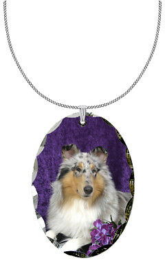 Collie Pendant Necklace Gold Tone ANIMAL RESCUE DONATION