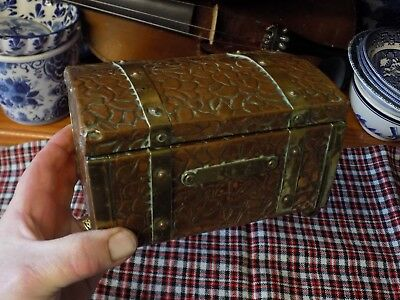 Antique Victorian Copper & Brass Zinc Lined Tea Caddy Chest