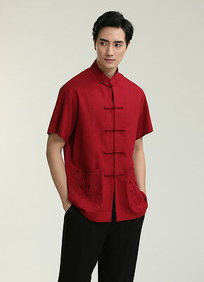 189cd6bf56 New red handsome Chinese Men s Linen Kung Fu Shirt Tops Gray Sz  S-M-L-XL
