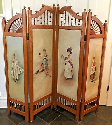 Antique 4 Panel Victorian Oak & Oil Painting Screen / Room Divider Late 1800's