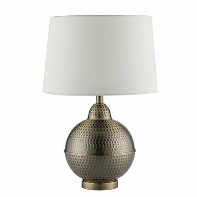 Table Lamps, White Shade with Handcrafted Hammered Pot Antique Brass Base