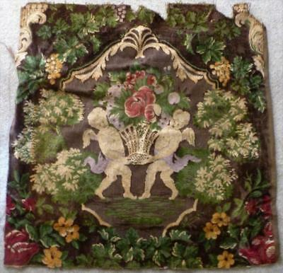 "Piece of Vintage Tapestry Fabric Hanging Cherubs Grapes Urns Flowers  25"" x 25"""