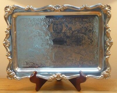 Nice Falstaff Rectangular Silver Plate on Copper Serving Drinks Tray
