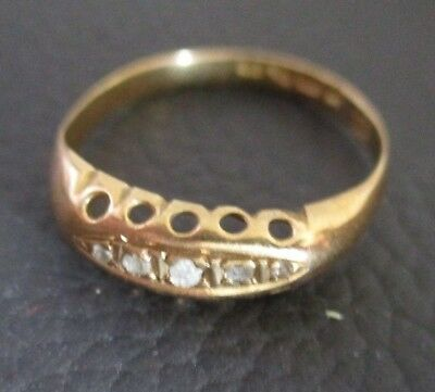 VINTAGE 18CT antique late EDWARDIAN style YELLOW GOLD RING diamond 1917 1910s