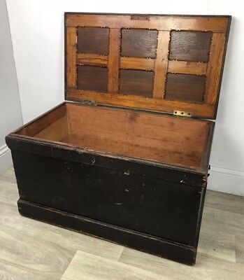 Fabulous Wood Antique Trunk, Chest, Storage, Coffee Table NR02