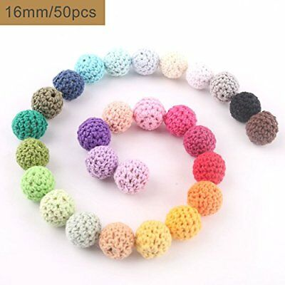 baby tete Wooden Crochet Covered Beads Color Mix Ball 16mm50Pcs Decoration Insi