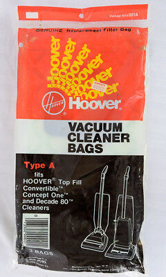 Vintage 3 Pack Hoover Type A Vacuum Cleaner Bags NEW Sealed Pkg 4010-001A