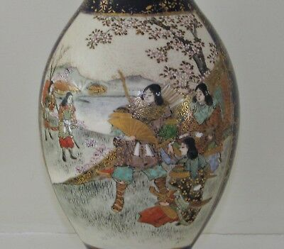 A fine Satsuma vase, signed Shuzan, Meiji Period (1868-1912), female warriors