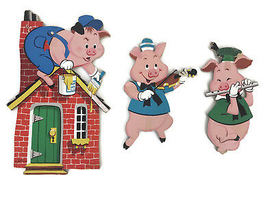 Vintage 1970s Dolly Toy Co. Three 3 Little Pigs Cardboard Pin Up Wall Hangings