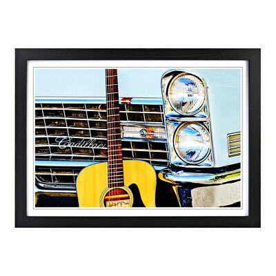 Framed Picture Print A2 Vintage Car and Guitar Music Musical Instrument Wall Art