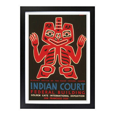 A2 Framed Picture Print Vintage WPA Poster Indian Court (4)