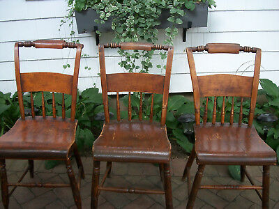 Primitive Plank Bottom Chairs - Very Old - Set of 3
