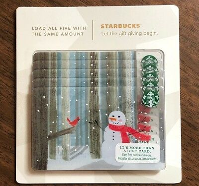 Starbucks Gift Card 2014 Pack of Five (5) Snowman Red Bird Holiday No $ Value