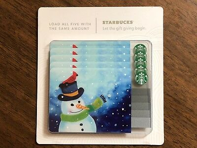Starbucks Gift Card 2016 Pack of Five (5) Snowman Red Bird Holiday No $ Value