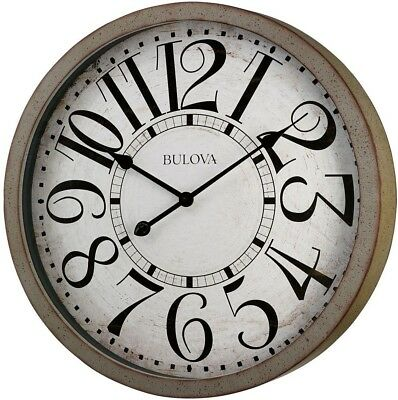 Wall Clock 24 in. H x 24 in. W Large Round Quartz Movement Antique Gray Finish