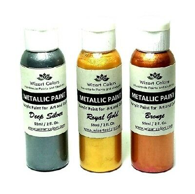 Set of 3 Premium Acrylic Metallic Paints for art and craft gold, silver, Bronze!