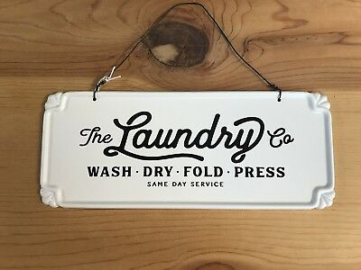 Metal Laundry Sign Tin Hanging Laundry Sign Craft House Designs Wash Dry Fold