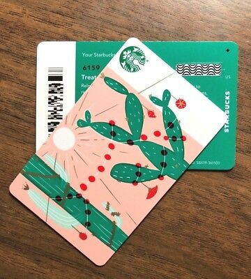 Starbucks Gift Card 2018 New RARE DIAMOND Cactus Lights Cheer Holiday No $ Value