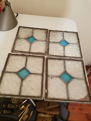 Antique Vintage Hammered Staines Glass Panels