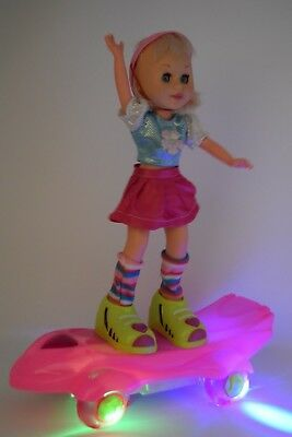 "Large Pink 20"" Skateboard Baby Girl Doll  Swinging Body moving Legs Music Light"