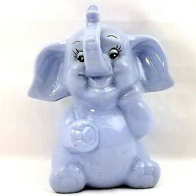 "Ceramic 6"" Elephant Trunk Up Good Luck Blue Piggy Bank Nursery Kids Boy Room"