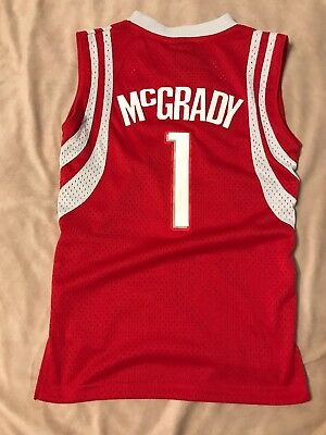 new style f4923 97afa REEBOK THROWBACK TRACY McGrady Houston Rockets TMAC Red Jersey YOUTH Large  NWT!