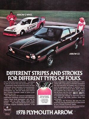 1978 PLYMOUTH ARROW GT Original Vintage Advertisement~ Don Prudhomme