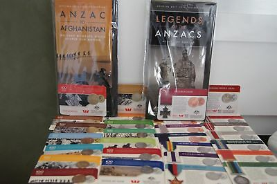 2016 Anzac to Afganistan & 2017 Legends of Anzac complete sets 25 & 20 cent coin