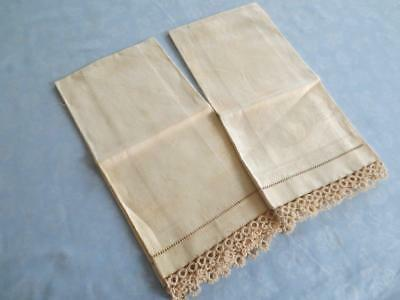 2 Antique Irish Linen Damask Towels Tatted Lace Never Used with Tags