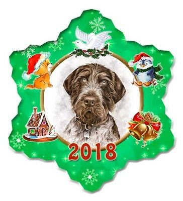German Wirehair Pointer Porcelain Christmas Holiday Ornament - 2018