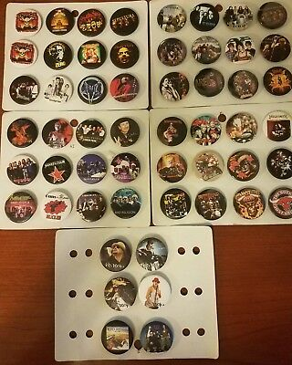 Vintage Mixed Lot of 34 Rock Band Character 1 inch (2.5cm)