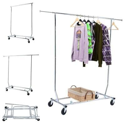 Commercial Heavy Duty Clothing Garment Rolling Collapsible Single-bar Steel