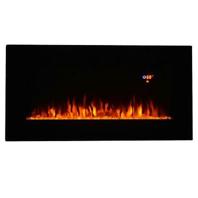"""Heat 36"""" Wall Mount Electric Fireplace MultiColor LED Backlight Home Decor"""