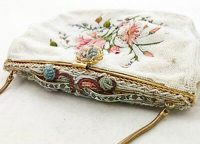 Micro glass beaded vintage antique French embroidered clutch - Paris, France