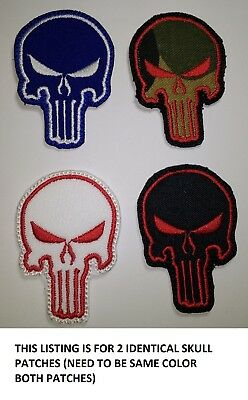 *LOVE IT OR ITS FREE* SET OF 2 Punisher Skull Usa Army Tactical Emb. Patch, IRON