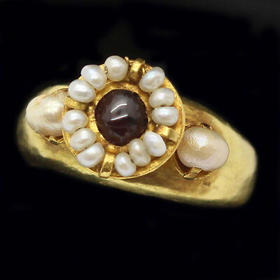 Antique Byzantine Ring Gold Garnet Natural Pearl Antiquity 6-9th Century (5659)