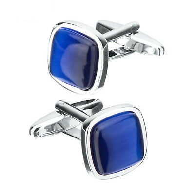 2019 Luxury Natural Blue Opal Cufflinks Square Cuff links Gifts for Mens Wedding