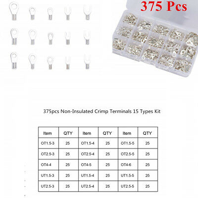 375Pcs 15Size Non-Insulated Ring Fork U-type Terminals Cable Wire Connectors Kit