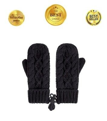 Womens Ladies Knit Mittens Glove Fingerless Black Lined Winter Gloves