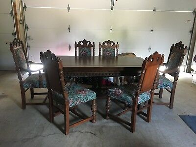 ANTIQUE Dining Room Table-Oak Jacobean (Extensions)W/ Padded Cover+6 Chairs