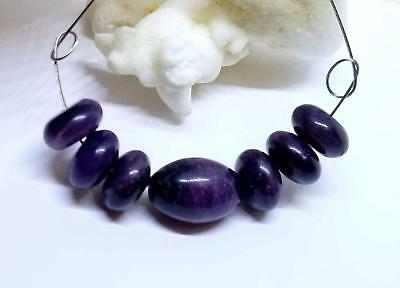 7 AFRICAN PURPLE SUGILITE BEADS 40.5cts 14mm EGG & 10mm RONDELLES AAA SET