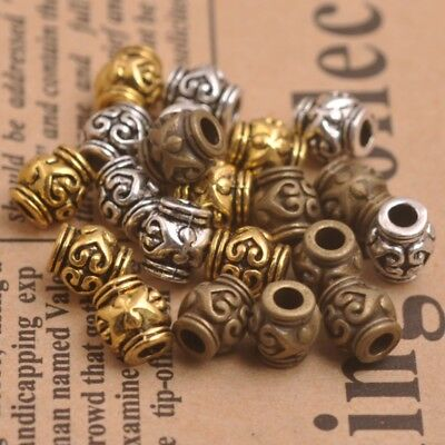 50PCS Tibetan Silver Gold Bronze Flower Oval Spacer Beads Jewelry Findings B3150