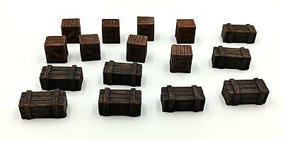 28MM RESIN TERRAIN | Dungeon Accessories - 16pc Crates Set #2 | Role  Playing Sce