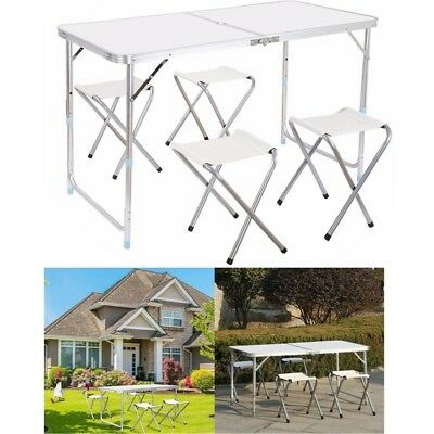 Heavy Duty Folding Picnic Table and 4 Chairs Stool Camping BBQ Outdoor Equipment