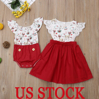 Christmas Outfits Newborn Baby Kid Girl Family Sister Matching Romper Clothes US