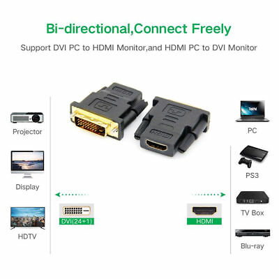 Male to HDMI Adapter Converter 1080P DVI-D For 3D HDTV LCD Monitor Display