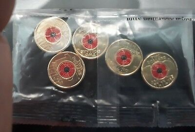 2018 Armistice Centenary(red poppy) $2 coin (5 coin RAM bag)