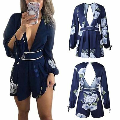 New Women Ladies V Neck Playsuit Bodycon Party Jumpsuit Romper Trousers Clubwear