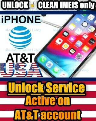 UNLOCK SERVICE USA AT&T iPhone 6S plus 7 + 8 X XS MAX XR ACTIVE on ACCOUNT