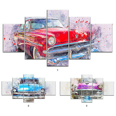 Old Vintage Car Canvas Print Painting Framed Home Decor Wall Art Poster 5Pcs